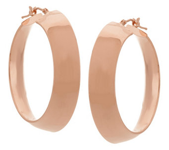 "Vicenza Gold 1-1/2"" Polished Mirror Round Hoop Earrings, 14K - J326056"
