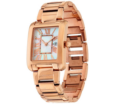"""As Is"" Bronze White Mother-of -Pearl Retangle Watch Bronzo Italia"