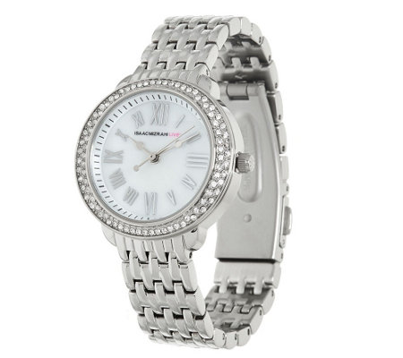 """As Is"" Isaac Mizrahi Live! Round Pave Stainless Steel Bracelet Watch"