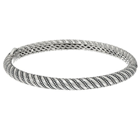 JAI Sterling Silver Andaman Sea Texture Hinged Bangle Bracelet