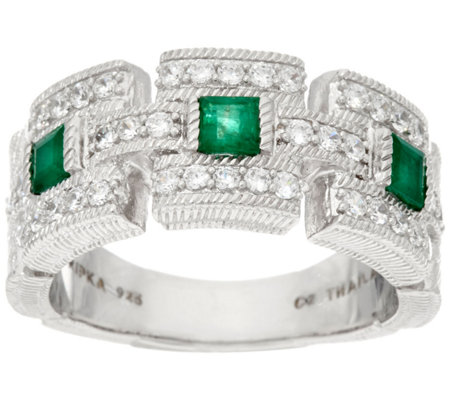 Judith Ripka Sterling Silver 0.60 cttw Emerald & Diamonique Ring