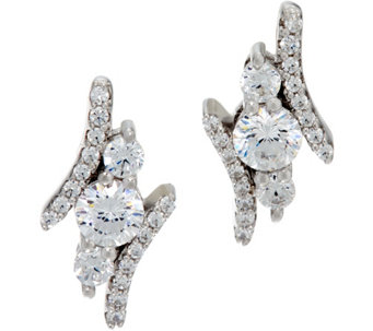 Diamonique Infinite Love 3 Stone Earrings, Platinum Clad - J330256