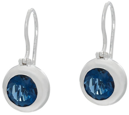 Jane Taylor Round Gemstone Sterling Silver Drop Earrings 3.00 cttw