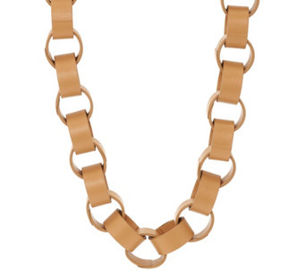 """As Is"" LOGO Links by Lori Goldstein Faux Leather Links Necklace - J331956"