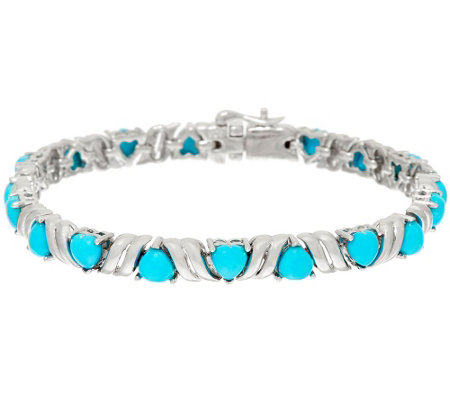 """As Is"" Sleeping Beauty Turquoise Heart Cut 8"" Sterling Tennis Bracelet"