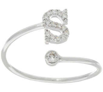 Diamonique Polished Adjustable Initial Ring, Sterling - J332556