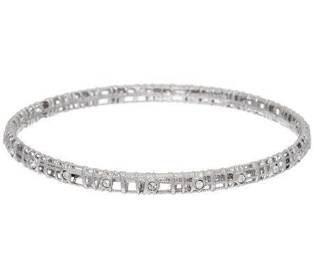 """As Is"" Vicenza Silver Sterling Crystal Open Work Bangle Bracelet"