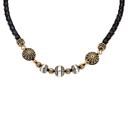 """As Is"" Brass/ Sterl. American West Braided Leather Bead Necklace"