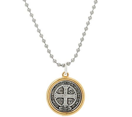 My Saint My Hero Benedictine Blessing 2 Tone Charm Necklace