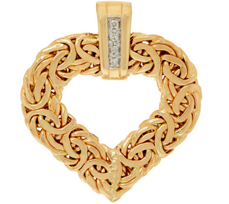 """As Is"" 14KGold Heart Byzantine Pendant with Diamond Accent"
