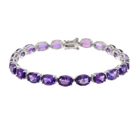 """As Is"" 24.00 ct tw African Amethyst 8"" Sterling Tennis Bracelet"