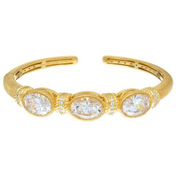 Judith Ripka Sterling/14K Clad 12.05 cttw Oval Diamonique Cuff Bracelet