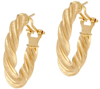 Arte d'Oro Polished Twist Design Omega Back Earrings, 18K - J334956