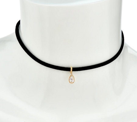 Diamonique Drop Choker Necklace, 14K Gold