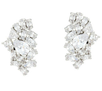 hitchin cubic ti sento silver hoop gatwards zirconia earrings image of
