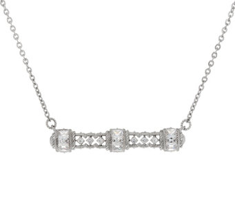 Judith Ripka Sterling Silver Diamonique Bar Necklace - J335856