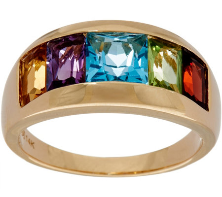 Channel Set Multi-Gemstone Band Ring 14K Gold 2.85 cttw