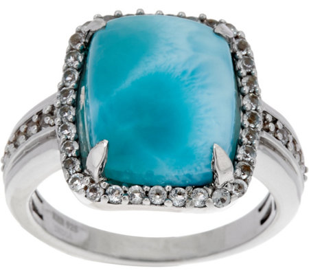 Elongated Cushion Cut Larimar & White Topaz Sterling Ring