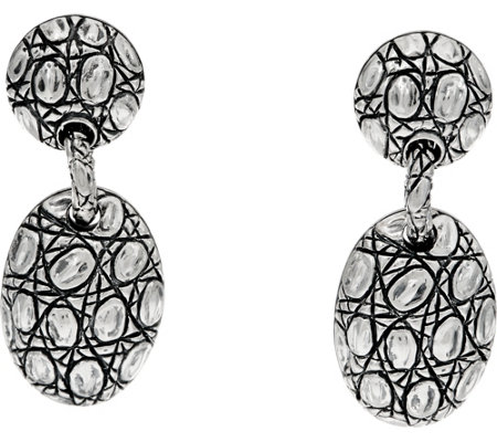 JAI Sterling Silver Croco Texture Pebble Drop Earrings