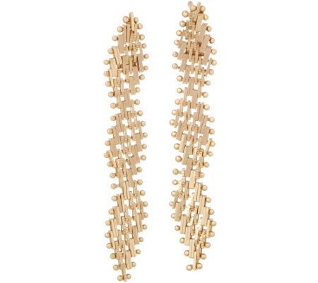Imperial Gold Serpentine Earrings, 14K Gold
