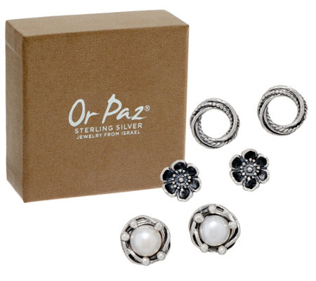 Or Paz Sterling Silver Individually Boxed Set of 3 Stud Earrings