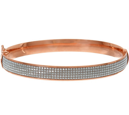 """As Is"" Italian Silver Glitter Oval Bangle Bracelet, Sterling"
