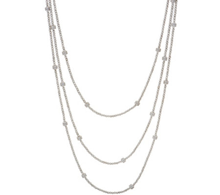 "Italian Silver 36"" Diamonique Diamond Cut Bead Necklace"