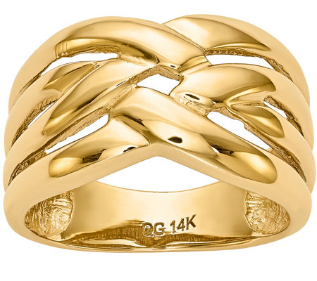 14K Gold Polished Woven Ring