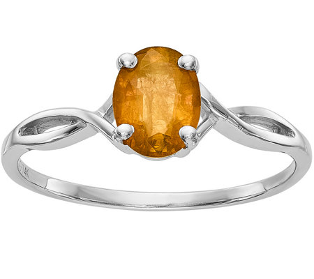 14K White Gold Oval Gemstone Ring