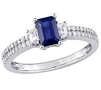 14K 1.00 cttw Blue & White Sapphire and 1/6 cttw Diamond Ring - J377056