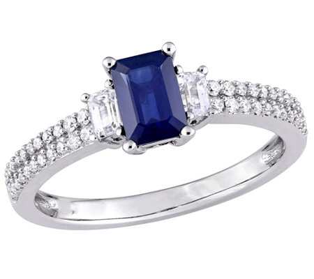 14K 1.00 cttw Blue & White Sapphire and 1/6 cttw Diamond Ring