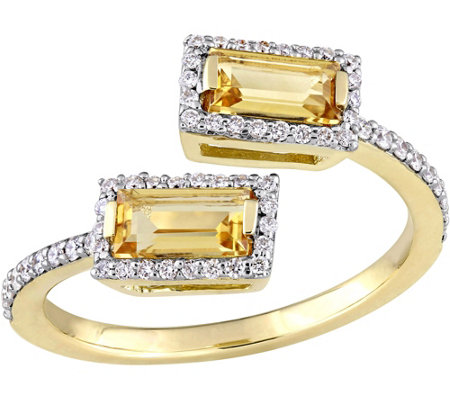 0.75 cttw Citrine & 1/5 cttw Diamond Halo Bypass Ring, 14K