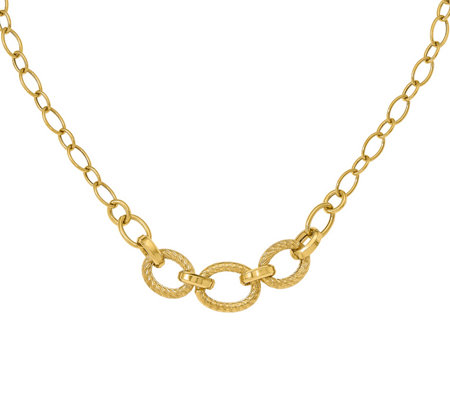 Italian Gold Diamond Cut Oval Link Necklace 14K, 9.6g