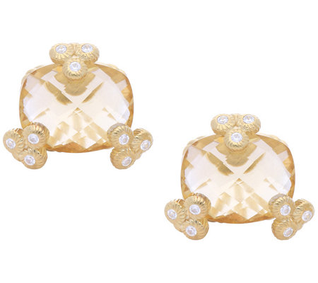 Judith Ripka 14K Clad Champagne Quartz Stud Earrings