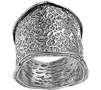 Or Paz Sterling Etched Design Scalloped Edge Ring - J380456