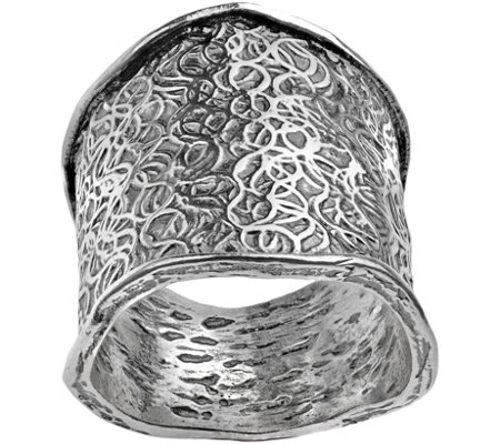 Or Paz Sterling Etched Design Scalloped Edge Ri ng