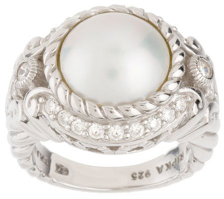 Judith Ripka Sterling Mabe' Cultured Pearl Ring