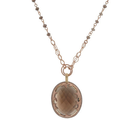 "GoldExpressions 18"" Adjustable Smokey Quartz Necklace, 14K"