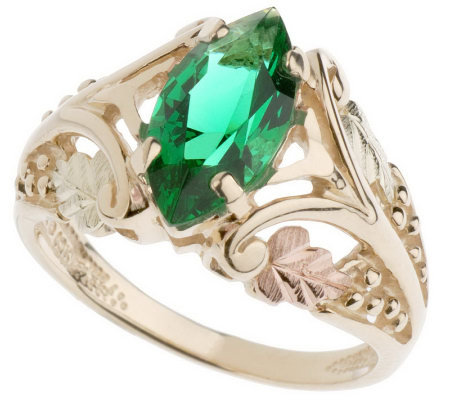 Black Hills Bold Marquise Pink or Green Helenite Ring 10K 12K Gold