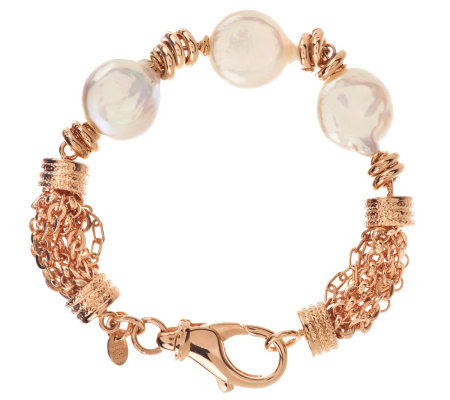 """As Is"" Honora Cultured Pearl 14.0mm 7-1/4"" Multi-chain Bronze Bracelet"