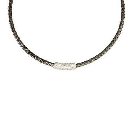 """As Is"" Italian Silver Sterling Diamonique Station Collar Necklace"