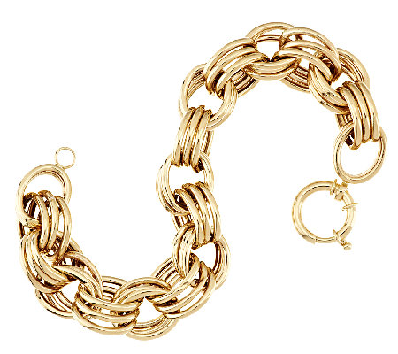 "14K Gold 7"" Bold Polished Triple Rolo Link Bracelet, 12.4g"