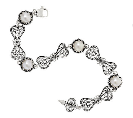 Artisan Crafted Cultured Pearl Sterling Station Bracelet