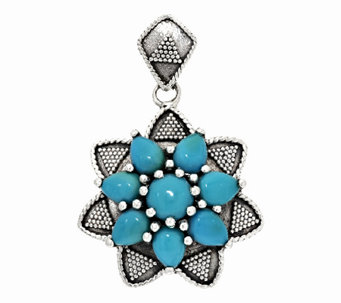 Artisan Crafted Sleeping Beauty Turquoise Cluster Pendant - J294857