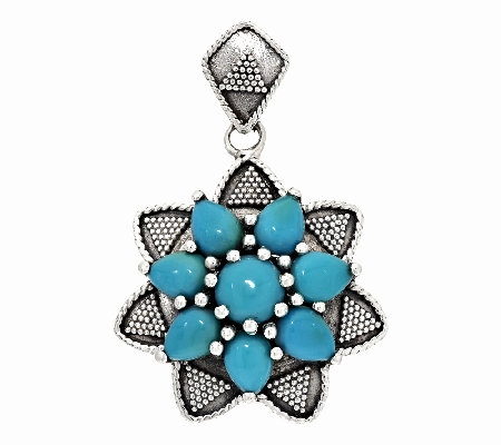 Artisan Crafted Sleeping Beauty Turquoise Cluster Pendant