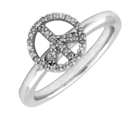 Simply Stacks Sterling Peace Symbol Diamond Ring