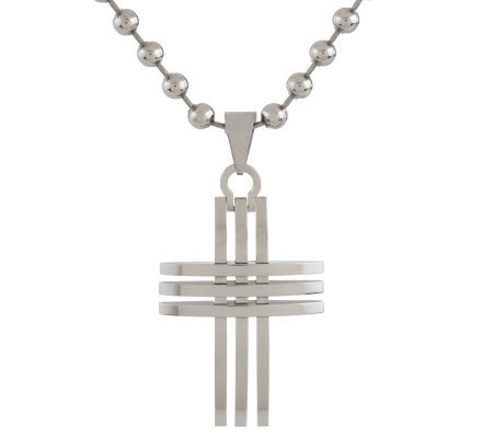 Forza Men's Stainless Steel Openwork Cross Pendant