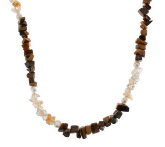 "Lee Sands Tiger's Eye Citrine & Cultured Pearl36"" Necklace - J302757"