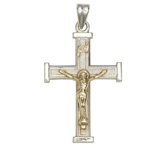 Sterling Silver Cross Pendant with 14K Yellow Gold Crucifix - J303757