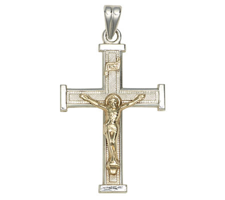 Sterling Silver Cross Pendant with 14K Yellow Gold Crucifix